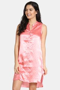 Buy Zivame Satin Stripes N Polkas Polyester Mid Length Nightdress - Pink N Print
