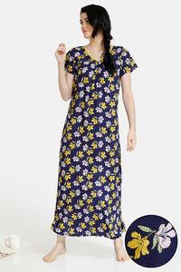Buy Zivame Dark Blooms Rayon Full Length Nightdress - Navy