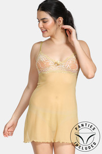 Buy Zivame Lace N Mesh Baby Doll With Thong - Gold