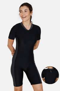Buy Zivame Knee Length Swim Bodysuit With Removable Padding - Anthracite