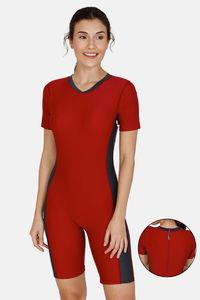 Buy Zivame Knee Length Swim Bodysuit With Removable Padding - Burgundy