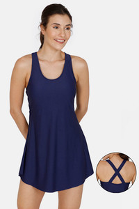 Buy Zivame Swim-dress With Inbuilt Shorts - Navy