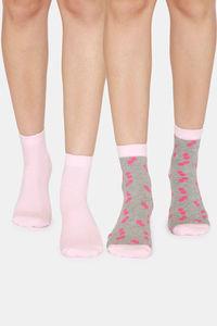 Buy Zivame Ankle Socks (Pack of 2) - Pink Grey AOP Pink