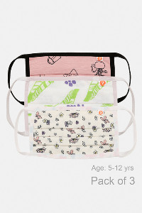 Buy Zivame Kids 2 Layer Printed Pleated Knit Cotton Face Mask Pack of 3  - Pink Leaf Navy