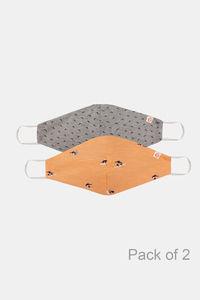 Buy Zivame Reusable 2 Layer Printed Knit Cotton Antiviral Face Mask Pack of 2- Grey Pink Bird Pt