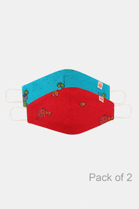 Buy Zivame Kids Reusable 2 Layer Anti-microbial  Knit Cotton Face Mask Pack Of 2 - Red Blue