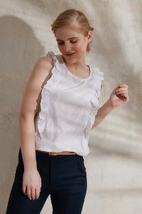 Buy Zephyr Sleeveless Ruffle Crop Top- White