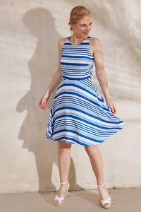 Buy Zephyr Stripe Skater Dress- White N Blue