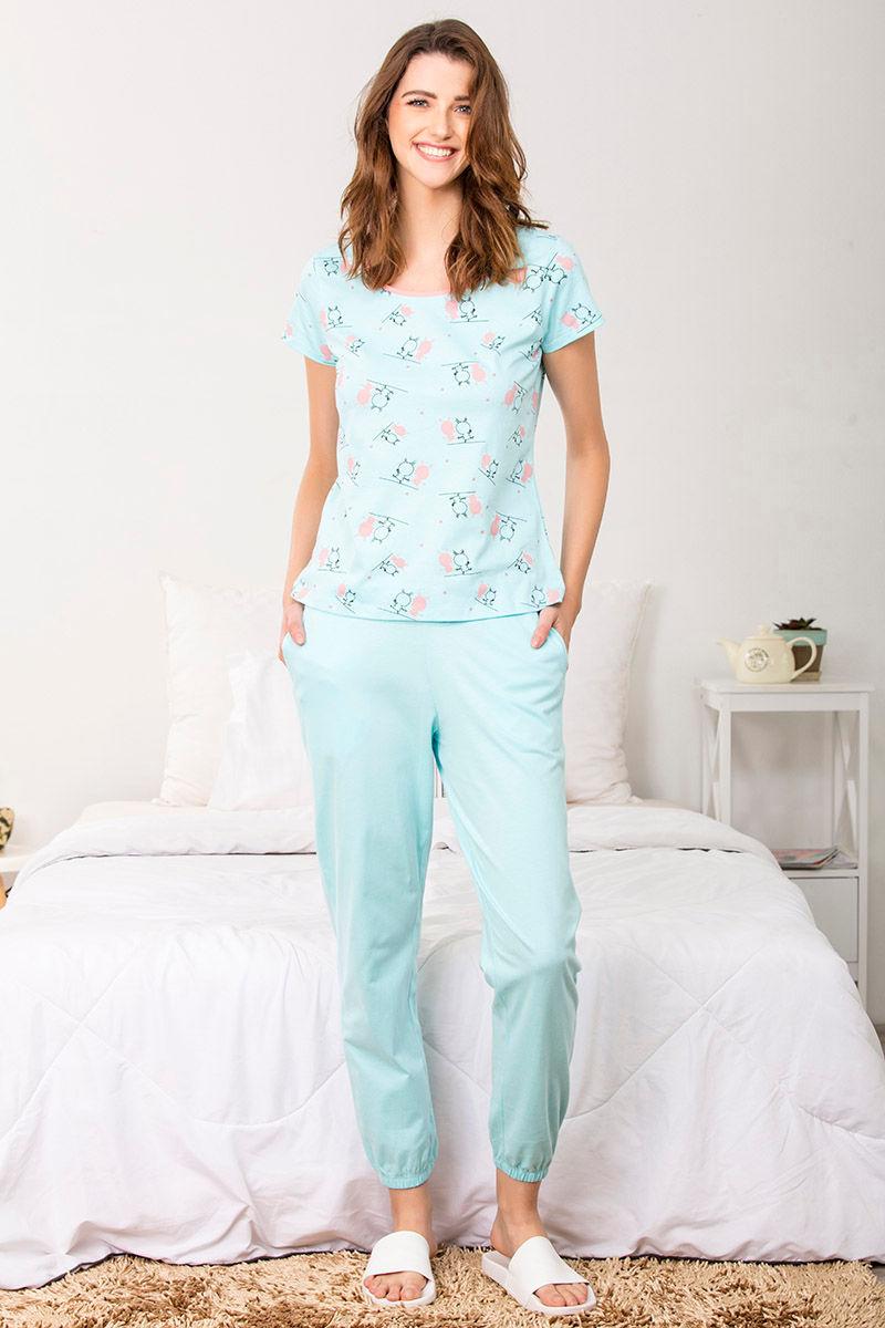6d4b0a2f79b7 Buy Zivame Crazy Farm Top N Pyjama Set- Blue N Print