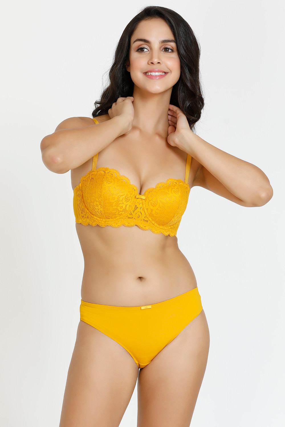 100% quality best quality for buying cheap Zivame Vintage Lace Padded Wired Strapless Bra With Bikini Panty - Golden  Yellow