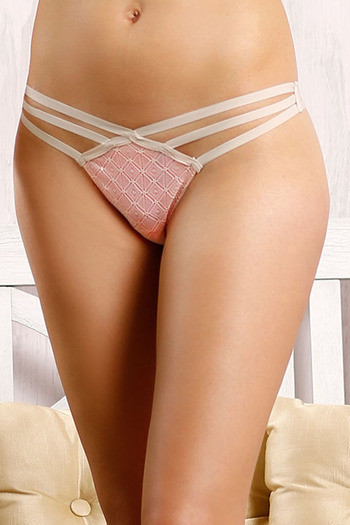 model image of Zivame Summer Bounty Low Rise Sheer Thong Panty-Coral