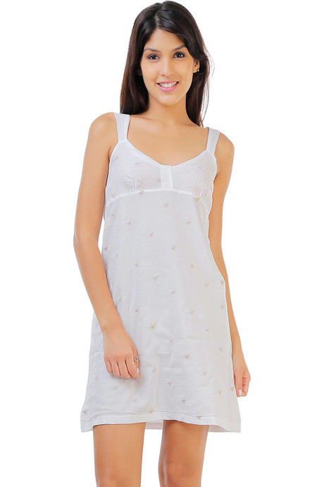 Buy Zivame Dreamwear Fine Cotton Embroidered Soft Nightdress-White ... 7b259fa46