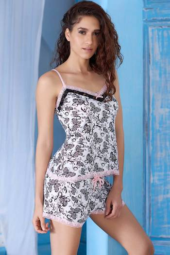 Zivame Dreamwear Butterfly Print Cami and Shorts Set