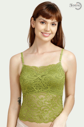model image of Zivame Made-to-Layer Longline Cami Bralette- Green