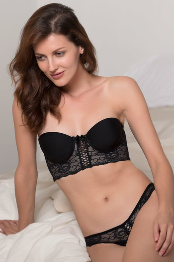 model image of Zivame Lace Touch Padded Demi Coverage Longline Bra-Black