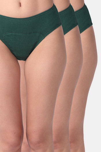 Adira Pack Of 3 Period Hipsters Green