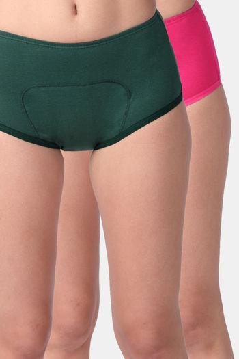 model image of Adira Pack of 2 Period Boxer-Green Dark Pink