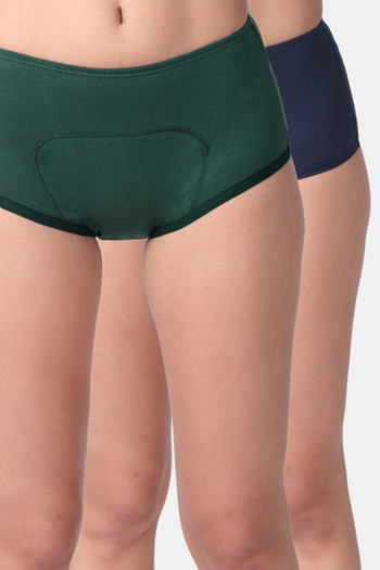 model image of Adira Pack of 2 Period Boxer-Green Navy Blue