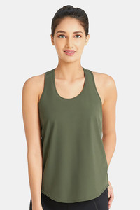 Buy Amante Smooth and Seamless Easy Movement Relaxed Fit Racer Back Tank Top - Army Green