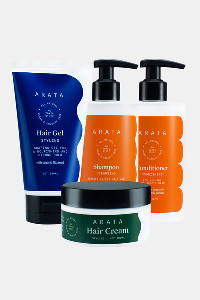 Buy Arata Natural Hair Care Essentials  With Cleansing Shampoo  Conditioner Hair Gel & Hair Cream - White