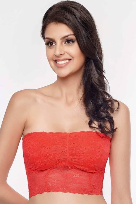 6b36dfea40 Buy Zivame Lace Embrace Non-Padded Wirefree Bandeau Bra-Red at Rs ...