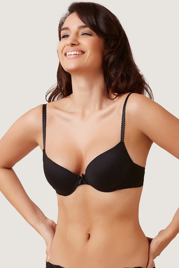 Zivame Wear Me Everyday Smooth Padded T-Shirt Bra- Black