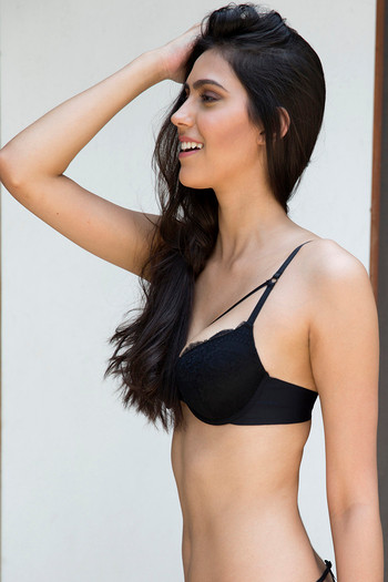 cc8985f869 Buy Zivame Lace Touch Demi Coverage Laser Wings Bra-Black at Rs.627 ...