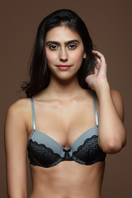 d74ca06788da Buy Zivame Hint of Lace Padded Wired Plunge Bra- Grey at Rs.636 ...