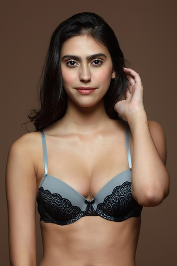 model image of Zivame Hint of Lace Padded Wired Plunge Bra- Grey