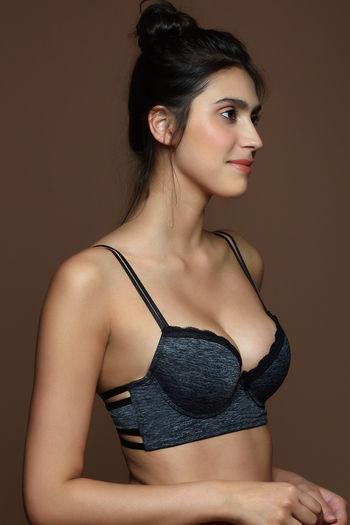 model image of Zivame Beautiful Basics Push Up Wired Low Coverage Bra-Dark Grey