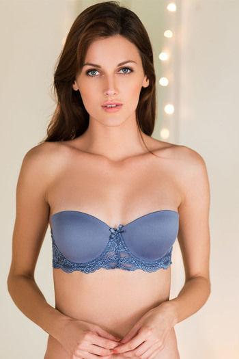 model image of Zivame Smooth Gentle Lift Strapless Bra-Light Blue