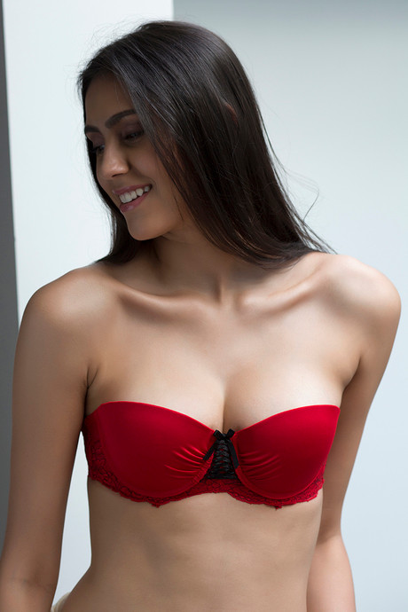 a5b2b177a8 Buy Zivame Smooth Demi Coverage Gentle Push Up Strapless Bra-Red at ...