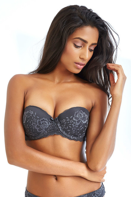 faa9f3ad02 Buy Zivame All That Lace Moderate Push Up Strapless Bra-Grey at Rs ...
