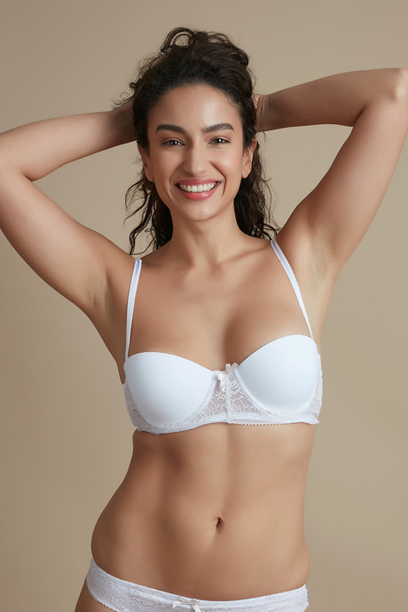 9d9fd4dbe1d84 Buy Zivame Luxe Lace Moderate Lift Underwired Strapless Bra- White ...