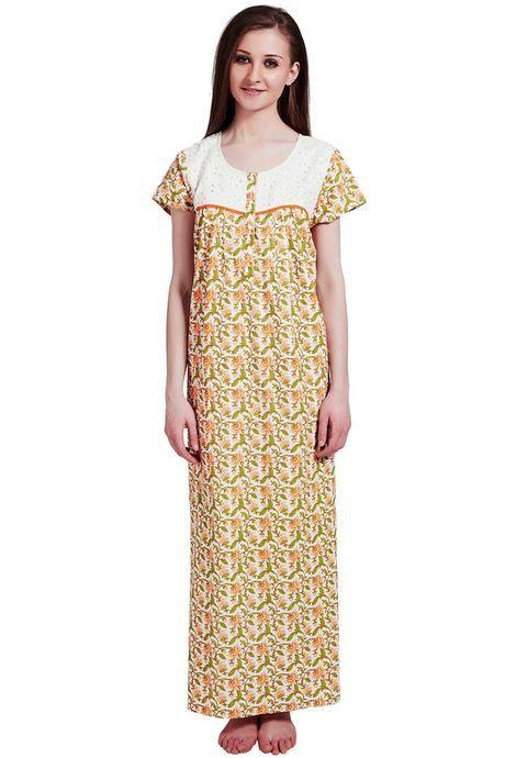 7ee692fa76 Buy Rosaline Pure Cotton Comfort Full Length Nighty- Orange Floral ...