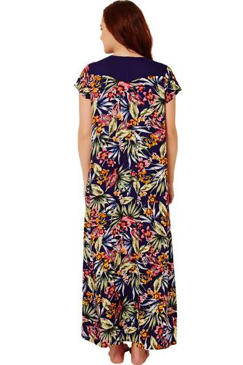 Buy Rosaline Floral Wrinkle Free Soft Rayon Nighty - Navy at Rs ... c8ef2b92a