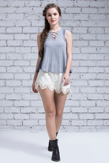 Zivame Boho Belle Crochet Lacy Shorts- Ivory
