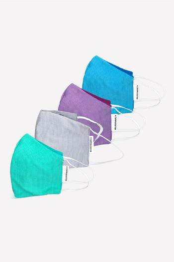 Campus Sutra  Pack Of 4  Reusable  amp; Antimicrobial 4 Layer Face Mask   Assorted