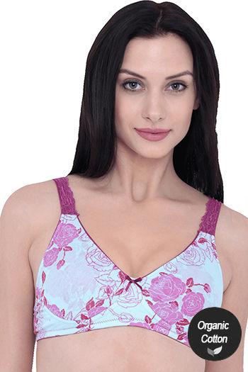 model image of InnerSense Organic Cotton Wirefree Padded Pretty Back Bra - French Rose