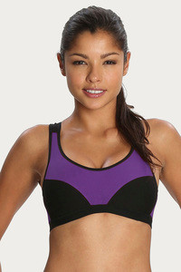 US STOCK Ladies Black//Beige Sports Bra Wired Active Gym Padded Yoga Shapwear DY