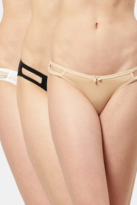 Buy Leading Lady  Everyday Cotton Low-Rise Solid String Bikini White, Black, Skin Pack Of 3