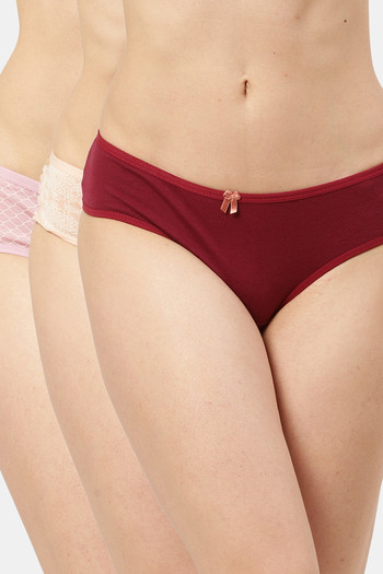 model image of Leading Lady  Everyday Cotton High-Rise Printed Thongs Multi Pack Of 3