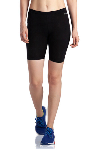 model image of Lavos Bamboo Cotton High Rise Full Coverage Layering Shorts - Black