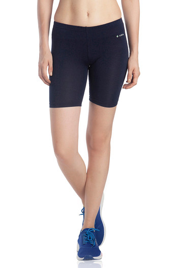model image of Lavos Bamboo Cotton High Rise Full Coverage Layering Shorts - Blue