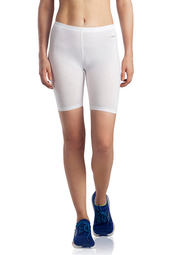 model image of Lavos Bamboo Cotton High Rise Full Coverage Layering Shorts - White