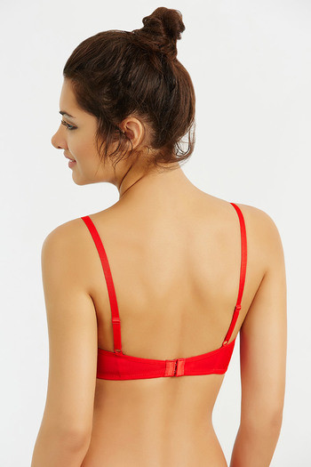 cf20e0db9b Zivame Jaquard Lace Padded Underwired Camisole Bra- Red (A-D)