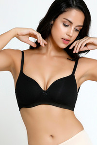 Buy Zivame Padded Non-Wired 3/4th Coverage Ultra Low Back T-Shirt Bra - Black