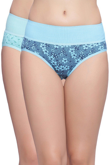 model image of Rosaline Mid Waist Full Coverage Tummy Tucker Panty (Pack of 2)- Blue Floral