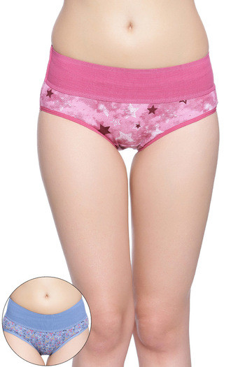 Rosaline Mid Waist Tummy Tucker Panty(Pack of 2)- Blue and Pink
