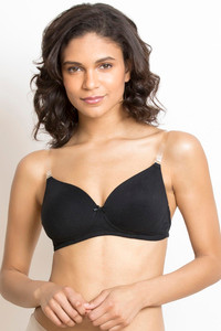 6cbb7dc6099fb8 Buy Rosaline Soft Padded Wirefree Comfort Transparent Back Bra- Black